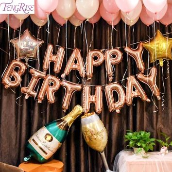 Party Balloons - Rose Gold Party 18th 21st 30th Birthday Balloon 18 21 30 40 50 Birthday Party Decorations Wine Champagne Cup Balloons