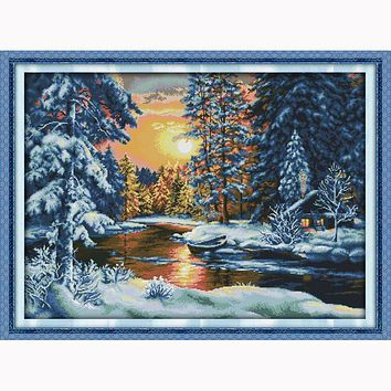 Sunset snow landscape Patterns 14ct Counted Cross Stitch Sets DMC Cross Stitch DIY Cross Stitch Kits for Embroidery Needlework
