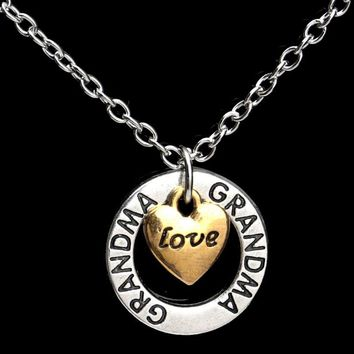 GRANDMA Heart LOVE NANA Chain Pendant Necklace Letter Words Fashion Women Choker Jewelry Gifts Silver Plated Family Grandmother