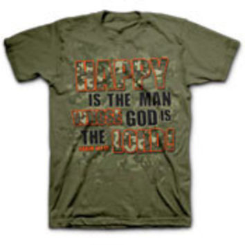 Happy is the man T-shirt (camo green)