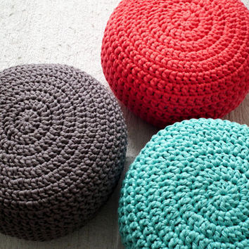Coral Crochet Pouf Ottoman - Coral Crochet Floor Cushions Pouf - Pouf Ottoman Nursery Footstool - Spring Decor