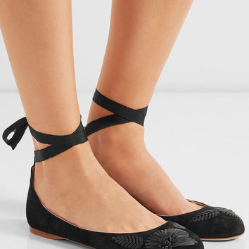 AERIN - Embroidered suede ballet flats