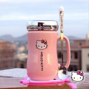 Cartoon Hello Kitty Ceramic Water Bottles Lady Girl 430ML Water Kettle Mug With Cup Mat Spoon Lid Can Use As Mirror