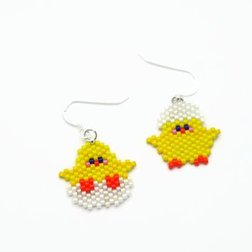 Yellow Easter Chick Mismatched Beaded Earrings With Silver Filled Ear Wires