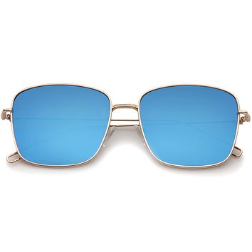 Modern Wire Metal Flat Lens Square Aviator Sunglasses A390
