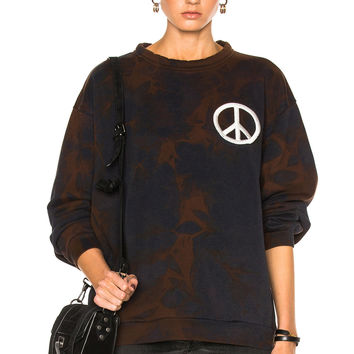 Acne Studios Fint Peace Sweater in Dark Navy Bleach | FWRD