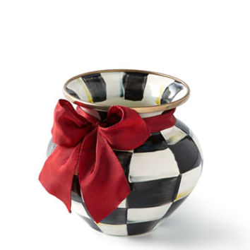 MacKenzie-Childs Courtly Check Vase with Red Ribbon