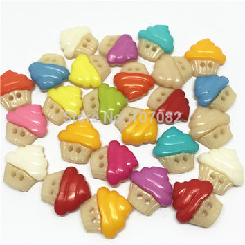 200pcs 16x16mm Ice Cream Cupcake Buttons Cute Sweater Button Sewing Accessories Baby Fancy Botones Scrapbooking Embellishment