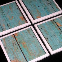 Tile Coasters- Coasters- Rustic Coaster- Turquoise Coaster- Home Decor- Turquoise Distressed Wood Printed Tile Coasters- Set of 4