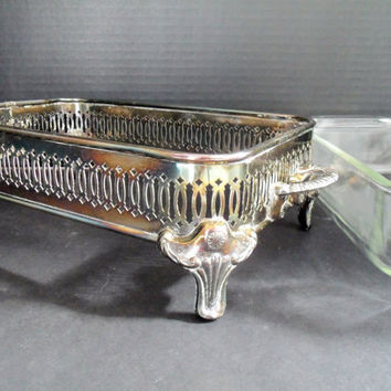 Silverplated Ornate Footed Casserole Holder with Anchor Hocking Baking Dish