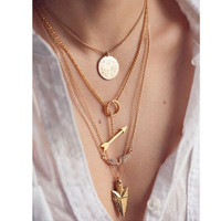F&U 2015 summer style 4 layer arrow design necklace pendant charm gold choker necklace women jewelry N272