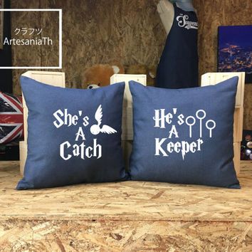 She's a Catch He's a Keeper Harry Potter Pillow Cover, HarryPotter Christmas Gift, Harry Potter Pillow cover Jean cotton canvas