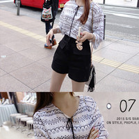 Scallop Pattern Blouse - Miamasvin loves u! Womens Clothing. Korean Fashion.