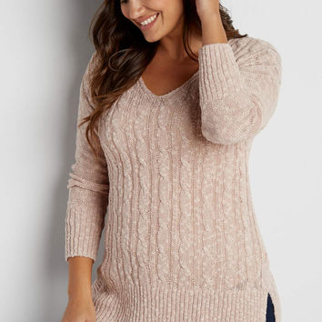 plus size cable knit pullover tunic sweater in pink chalk | maurices