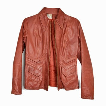 Vintage 70s Leather Moto Jacket with Chevron Pockets / Red Brown Leather Coat