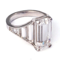 "Statement Emerald Cut White Sapphire Ring - the ""Stella"" Ring - Art Deco, Minimalist, Mid Century, custom, engagement, cocktail"