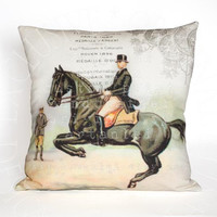 Lancade Equestrian Pillow - French Country Horse Pillow - Black Horse Pillow - 10x10 18x18 20x20 22x22 24x24 Inch Linen Burlap Pillow Cover