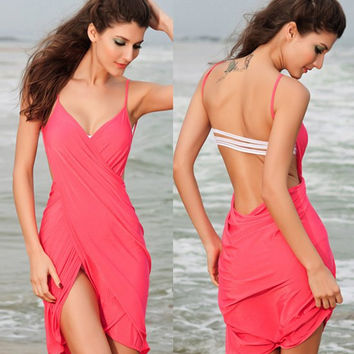 Watermelon Red Spaghetti Strap Backless Cover Up
