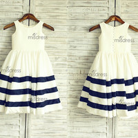 Ivory/Navy Blue Stripe Taffeta Flower Girl Dress Wedding Easter Junior Bridesmaid Baptism Baby Infant Children Toddler Kids Dress