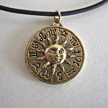 Zodiac Celestial Pewter Charm Black/Dark Brown by JaspersDream
