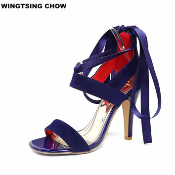 Cross Tied High Heels Sandals Women Sexy Stiletto Heel Fashion Dress Women Open Toes Fashion Design Shoes Pumps