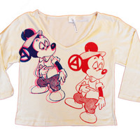 Seditionaries Punk Pajamas Set - Mickey Fix print Top and Trousers pants longsleeve top - Mickey Mouse alternative clothing