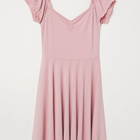 Off-the-shoulder Dress - Powder pink - Ladies | H&M CA