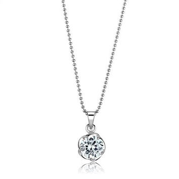 A Perfect 2CT Round Cut Russian Lab Diamond Solitaire Pendant Necklace