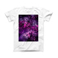 The Vibrant Purple Deep Space ink-Fuzed Front Spot Graphic Unisex Soft-Fitted Tee Shirt