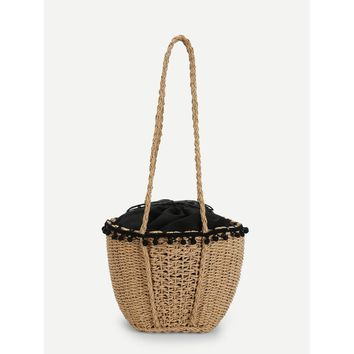 Beige and Black Contrast Trim Straw Tote Bag - Purse - Large Bag - Beach Bag