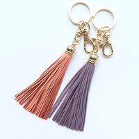 NEW COLORS - Leather Tassel Keychain Bagcharm - Peach, Lilac, Ivory Cream