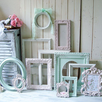 Pink and Mint Nursery Frame Set, Antique White, Baby Pink and Light Mint Green Vintage Frame Gallery, Shabby Chic Decor, Pink Ornate Frames