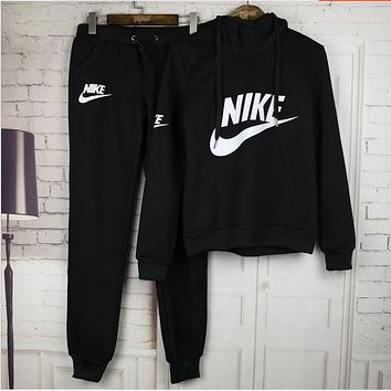 "Women Fashion ""NIKE"" Print Hoodie Top Sweater Pants Sweatpants Set Two-Piece Sportswear BLACK GREY BLUE"