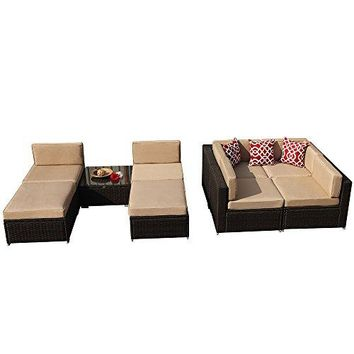 Super Patio 9 Pieces Outdoor PE Wicker Rattan Sectional Furniture Set with Beige Seat and Back Cushions, Red Throw Pillows, Aluminum Frame, Espresso Brown