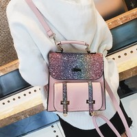Cool Backpack school LXTAZG New Fashion Women Gold sequins Backpack girls Cool rivet Backpack small School Bag Travel Bags Luxury brand Backpack AT_52_3