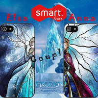 elsa and anna disney frozen stained glass couple iphone 4,4s,5,5s,5c case ,samsung s3, s4 case ,accesories design by : smartonecase