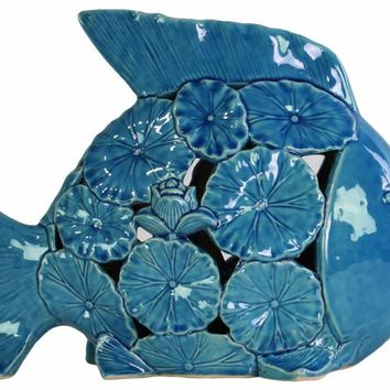 Large Fish Figurine with Floral Cutout Design-Blue-Benzara