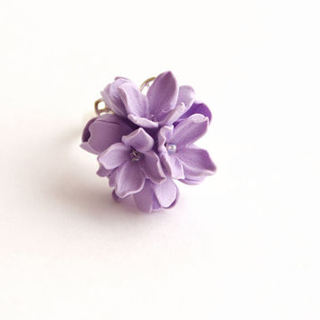 Handmade, ring, Flower ring, lilac flower, Bridesmaids jewelry, wedding, rustic, gift