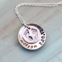 Sterling Silver Baby Name and Birthdate Necklace mom, new mom, gift, mommy jewelry, push present