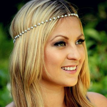 Simple Aesthetic  Hand-beaded Pearl Hair Band Hair Accessories