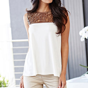 Women's White /Brown Blouses Tops PU Leather