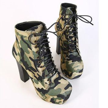 Women Autumn Boots High Heels Platform Military Boots Green Color