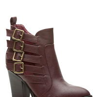 OxBlood Faux Leather Buckled Style Chunky Booties