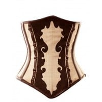 VG-117 Long Brown and Ivory Pattern Underbust