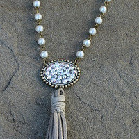 Pink Panache Short Pearl Necklace with Bronze AB Oval and Tassel