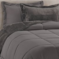 Solid Reversible Plush Comforter Set