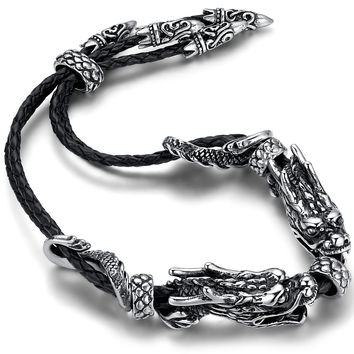 Stainless Steel Biker Double Dragon Braided Leather Bracelet