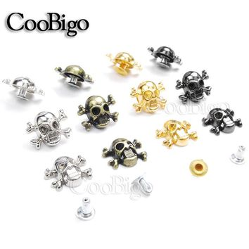500pcs 12x14.5mm Skull Cross Bone Rivet Studs Spikes Punk DIY Leather Craft for Apparel Clothing Shoe Bag Parts Accessories