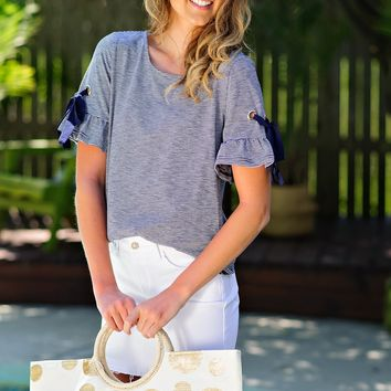 * Anchor Away Striped Top w/ Tie Sleeve : Navy/White