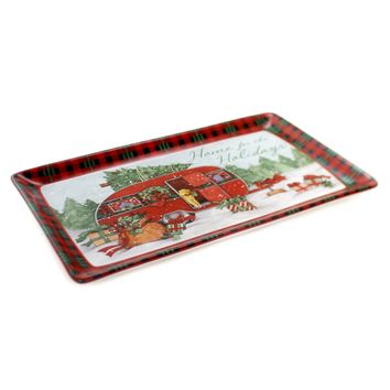 Tabletop HOME FOR CHRISTMAS RECTANGLE TRAY Ceramic Susan Winget 22788